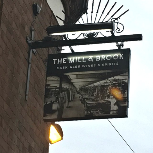 The sign of the Mill and Brook