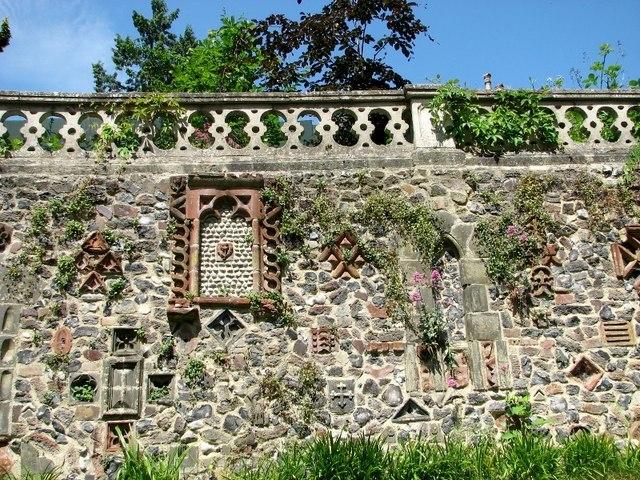 The Plantation Garden - Cosseyware in retaining wall