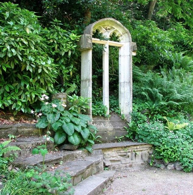 The Plantation Garden - church window beside the path
