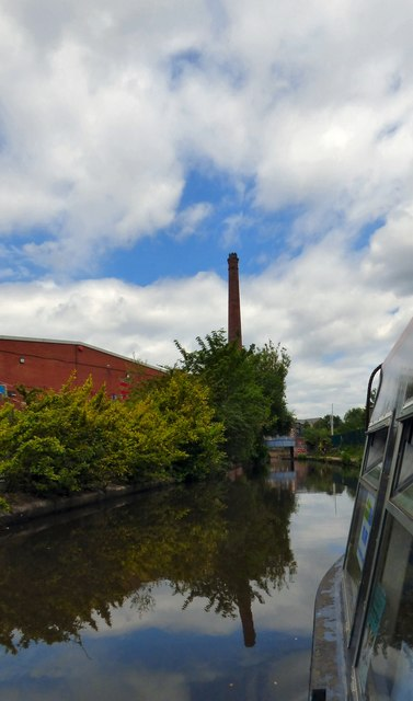 Approaching Junction Mill chimney
