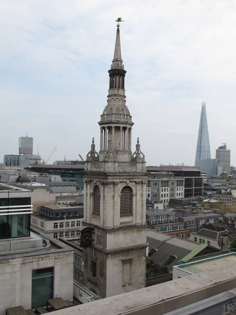 St. Mary-le-Bow seen from roof of One Wood Street