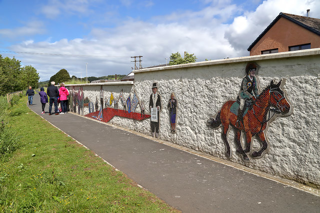 Artwork on a Selkirk flood protection scheme wall