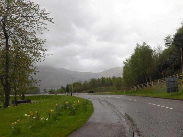 Park Road, Ballachulish in the rain
