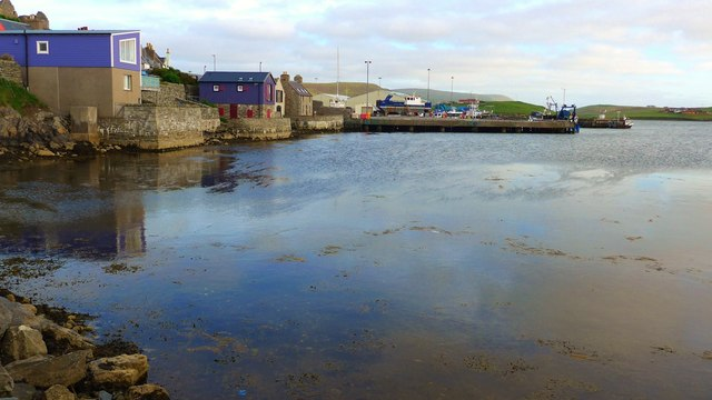 The rear of houses at Burn Beach, Scalloway