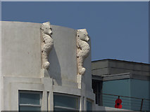 SD4264 : Morecambe's Midland Hotel  - seahorses by Stephen Craven