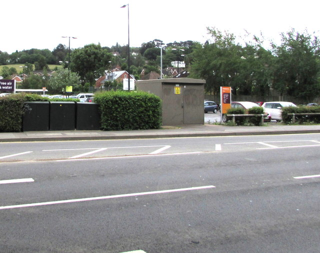 Three telecoms cabinets and an electricity substation, Priors Road, Cheltenham