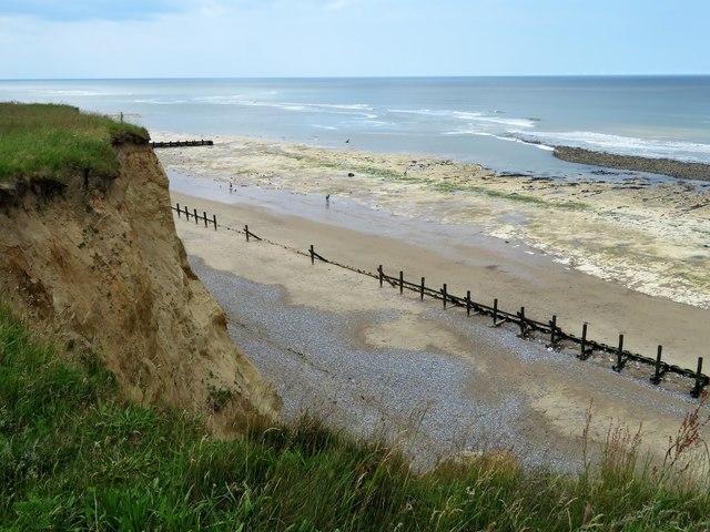 Cliff, beach and wave-cut platform near West Runton in Norfolk