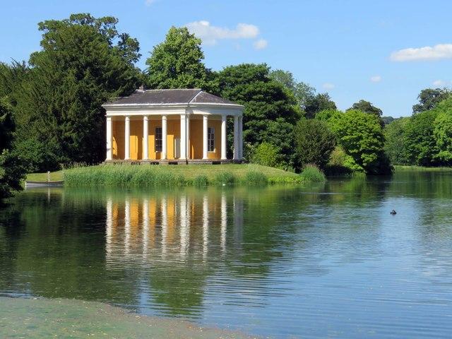 The Music Temple and lake in West Wycombe Park