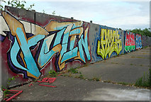 ST1774 : Graffiti by the A4160 by Derek Harper