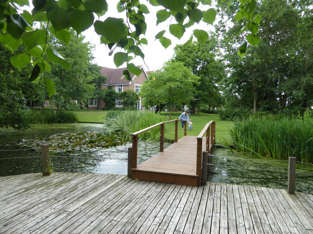 Decking and pond in the grounds of Pontlands Park Hotel, Great Baddow, Essex