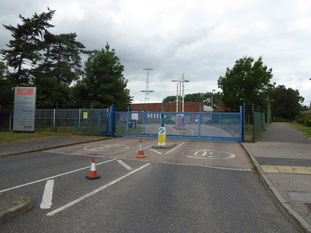 Industrial estate gates at Great Baddow, Essex
