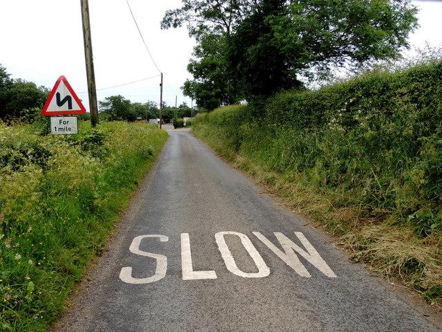Slow marking along Tullyneil Road