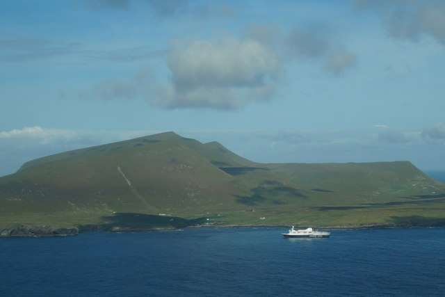 Cruise ship off Foula from the air