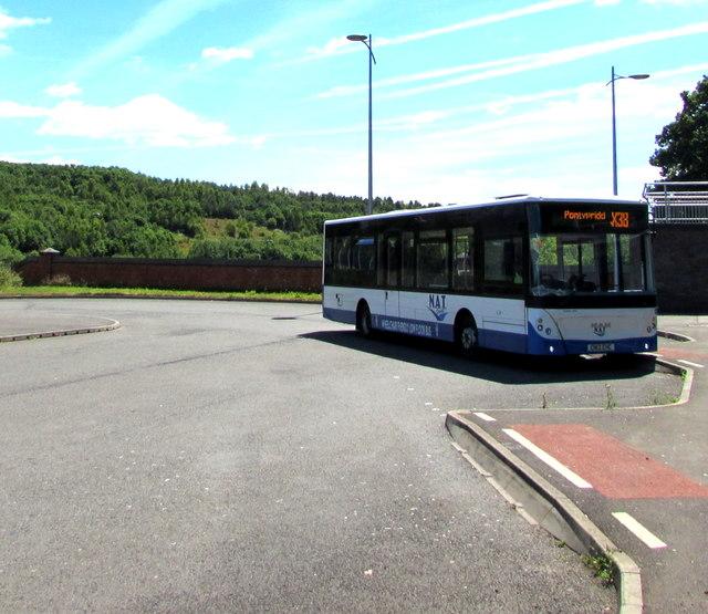 X38 for Pontypridd in Bargoed bus station