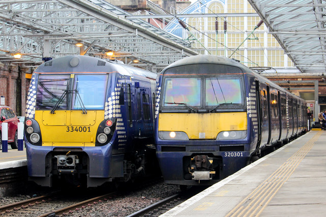Class 334 and Class 320 stand at Helensburgh Central
