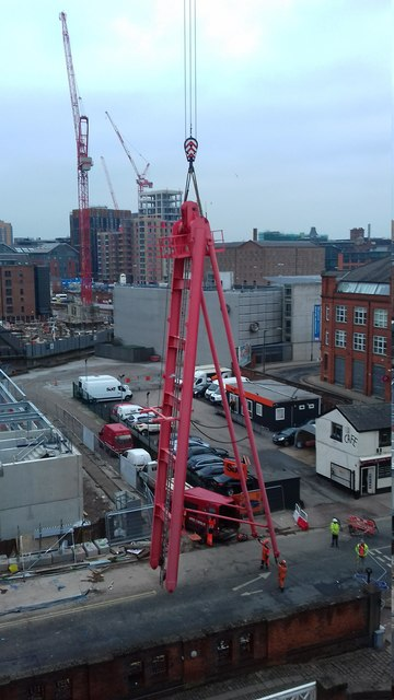 Tower crane assembly, Ducie Street, Manchester