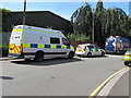 ST3187 : Police vehicles, Canal Terrace, Newport by Jaggery