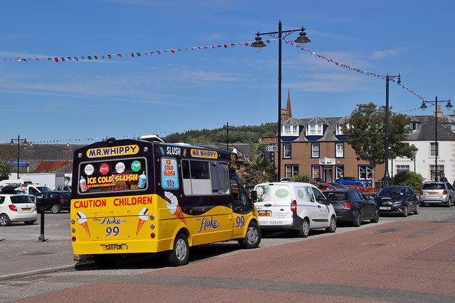 An ice cream van in St Cuthbert Street, Kirkcudbright