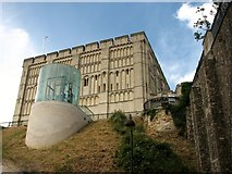 TG2308 : View of Norwich Castle from the moat by Evelyn Simak