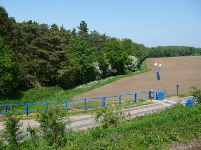 Barrier on a private road to Whitehall Farm