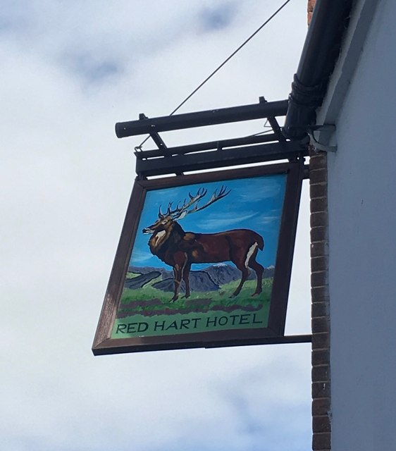 The sign of the Red Hart Hotel