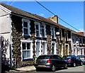 SO1400 : Usk Road stone houses, cars and satellite dishes, Bargoed by Jaggery