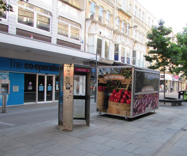 BT phonebox and The Fruit Machine, Commercial Street, Newport