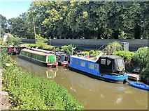 TF5002 : Narrow boats near the church in Upwell by Richard Humphrey