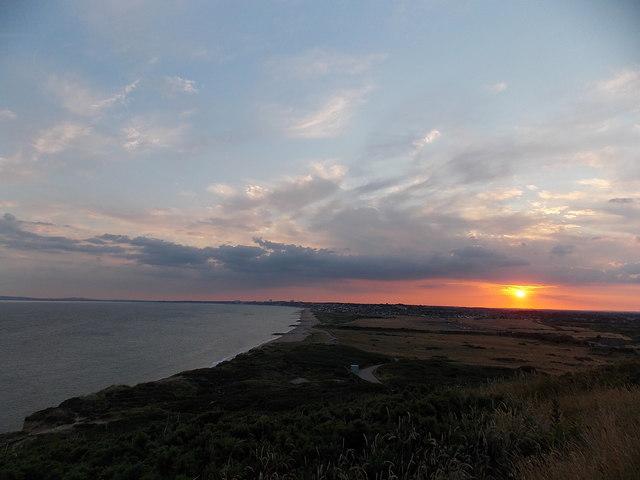 Hengistbury Head: a westward view at sunset