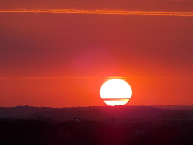 Littledown: sunset behind Littledown House