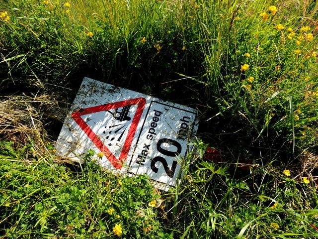 Discarded sign, Drumnahoe by Kenneth  Allen