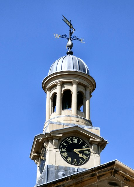 Clock, cupola and weathervane