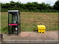 SN5707 : BT phonebox, Pont Abraham Services, Carmarthenshire by Jaggery