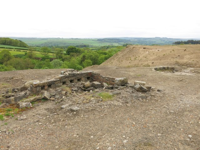Langley Barony Lead Mine - crushing mill, buddle pit and spoil heap