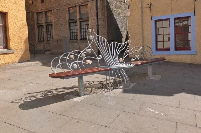 Decorative seat, School Brae Peebles