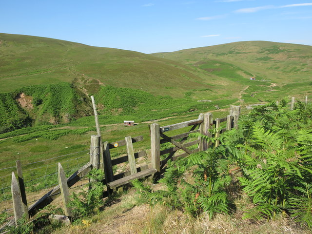 Gate on lower slopes of High Cantle