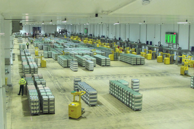 Bottled Milk ready for delivery to the Shops in the Arla Factory
