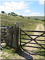 SD7157 : Gateway, gatepost and bench mark west of Stocks Reservoir by John S Turner