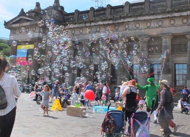 Bubbles outside the Academy, Edinburgh