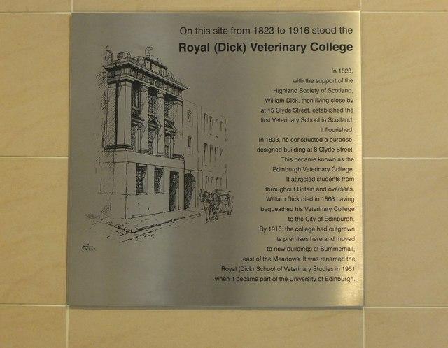 Dick Vet plaque at Edinburgh Bus Station