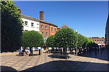 SE3320 : Clipped Holm Oaks in pedestrianised Kirkgate, Wakefield by Robin Stott