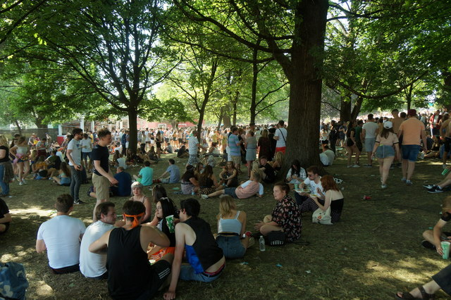 Finding shade at TRNSMT, Glasgow Green