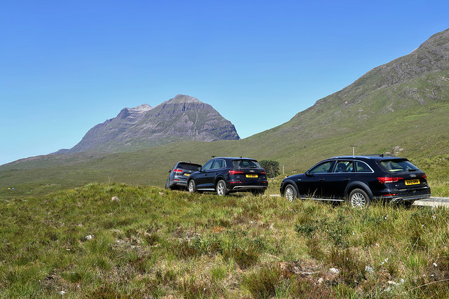 Cars by the road to Torridon