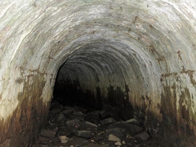 Langley Barony Lead Mine - water overflow tunnel: interior