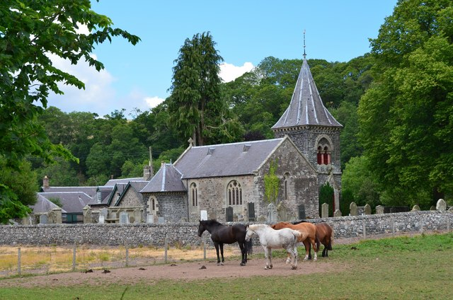 Horses and the kirk, Abbey St Bathans