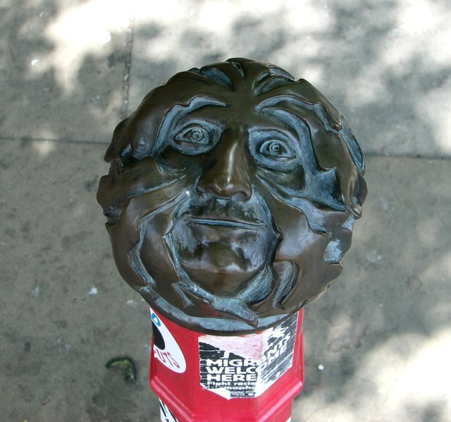 Green Man bollard finial