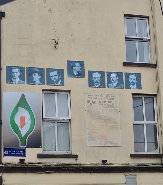 The Leaders of the 1916 Revolution, an Easter Lilly and a copy of  the 1916  Proclamation