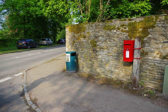 Litter bin and postbox on corner of Weald Street and Clanfield Road, Bampton, Oxon