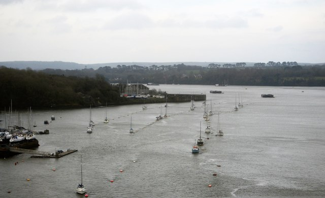 Boats moored on the Tamar
