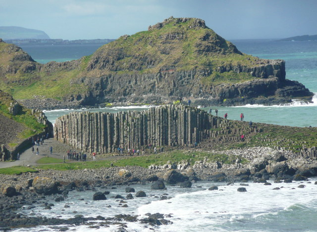 Telephoto view of the Giant's Causeway